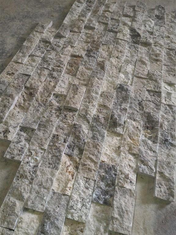 Silver Travertine Splitface 5x15x2 cm | Mazzmar Stone