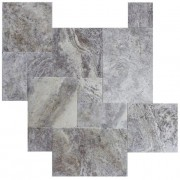 Silver Travertine Tumbled Vielli French Pattern Set Travertino