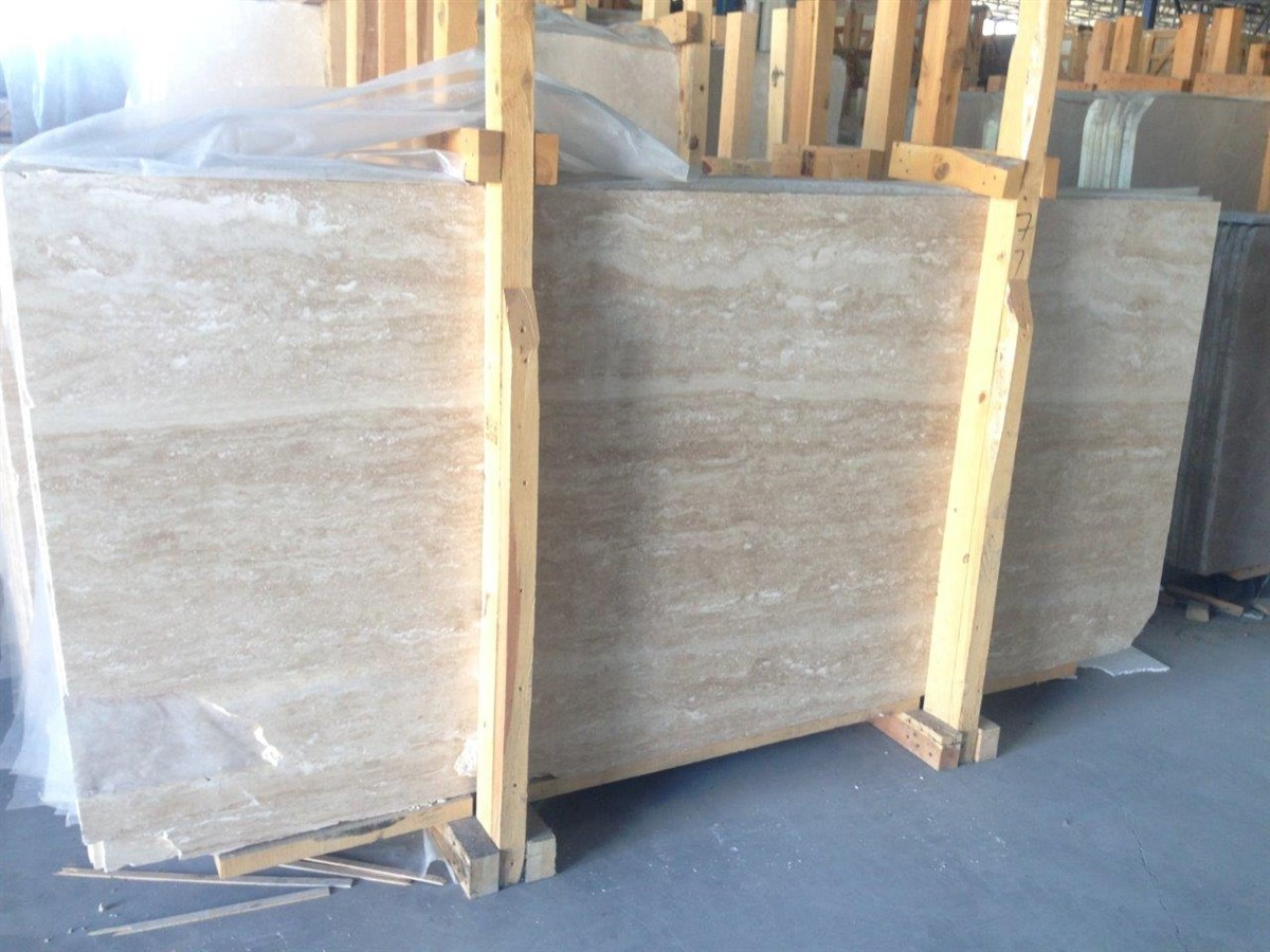 Travertine Stone Slabs : Light travertine slab cm veincut filled honed vc