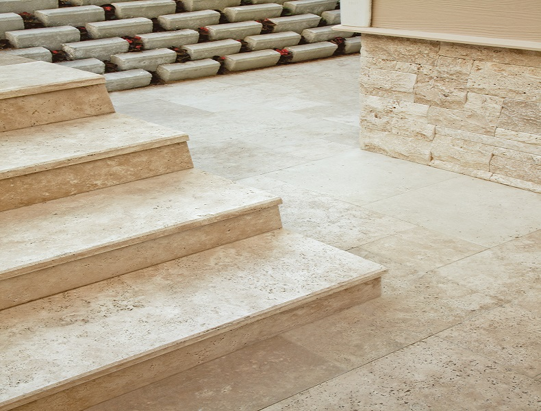 Travertine Stairs Travertin Basamak Dosemelik Treapta Bordura Piscina  Travertinul Travertin Margelle Piscine Margelles De Piscine,