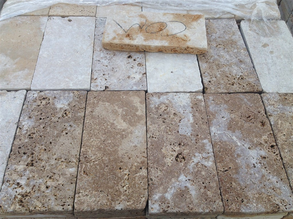 Travertine Pavers Tumbled Rustic 3 cm Commercial Grade 15,25x30,5x3 cm |  Mazzmar Stone