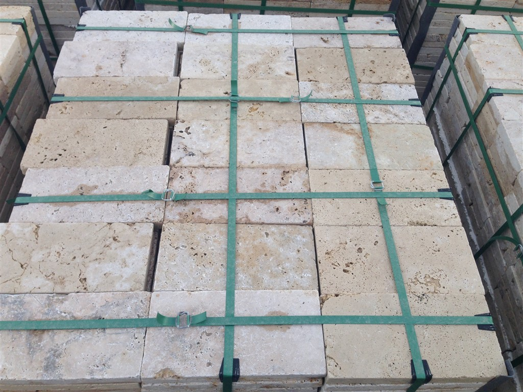 Travertine Pavers Tumbled Rustic 3 cm Commercial Grade 15,25x30,5x3 cm |  Mazzmar Stone