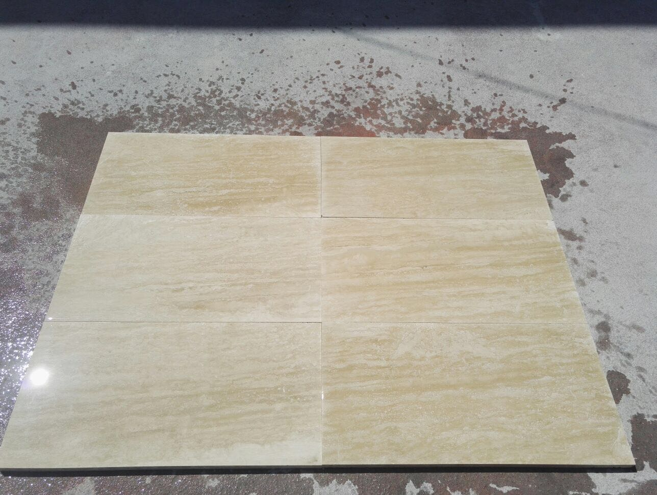 Light Travertine Veincut Filled Honed 40x80x2 cm Tiles - Premium   Mazzmar  Stone