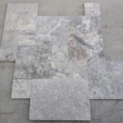 Silver Travertine Platinium - French Pattern Set 1,2 cm - (6)