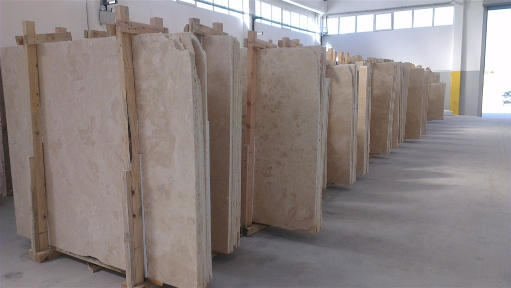 Travertine Slab Light Filled Honed Turkish And